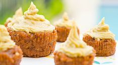 Raw Carrot Cupcakes with Orange Vanilla Frosting. CUPCAKES: 1.5 Cups of shredded carrots, 3/4 Cups fresh dates, 2 Tbls coconut flour, 2 Tbls liquid coconut oil, 1/4 Cup walnuts, 1/4 tsp vanilla essence, 1/2 tsp Cinnamon, 1/2 tsp Ginger, Dash of Turmeric. Mix together in food processor. FROSTING: 1 Cup Soaked Cashews, 1/2 Cup Pitted Dates, 1/2 Small Stem or Scrape of Fresh Vanilla, Juice from 1-2 Oranges. Blend in high speed blender, it will be very thick.
