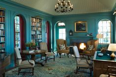 Turquoise paneled library with khaki wing chairs - Peter Pennoyer Architects - House in Maine - photo: Pieter Estersohn - interior design: Jayne Design Studio (http://jaynedesignstudio.com/projects/191 )