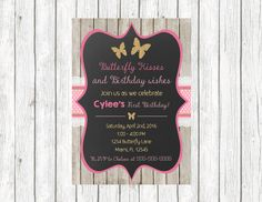 Butterfly Chalkboard First birthday invitations! Pink and gold with some glitter! - 5x7