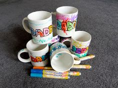 Father's Day mugs. Let the kids loose with a white mug, porcelain pens, then stick in a 150 degree oven for 30 mins to make them dishwasher proof!