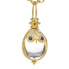 Temple St. Clair 18k Gold, Rock Crystal & Gem-Set Owl Amulet in 18k yellow gold with blue sapphire eyes and pavé diamond accents. Rock crystal weighing approximately 13.88 carats, sapphires weighing 0.10 total carats and diamonds weighing 0.60 total carats