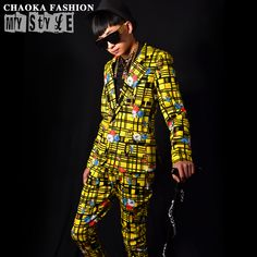 2PCS/Set  (ツ)_/¯ Boys Suits For Men Jacket with •̀ •́  Pants Yellow Plaid Flower Printed Fashion Club Homme Slim Fit Prom Stage Costume Suits2PCS/Set  Boys Suits For Men Jacket with Pants Yellow Plaid Flower Printed Fashion Club Homme Slim Fit Prom Stage Costume Suits http://wappgame.com
