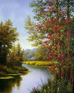 Ideas for landscape paintings inspiration Watercolor Landscape, Landscape Art, Landscape Paintings, Watercolor Paintings, Nature Paintings, Beautiful Paintings, Beautiful Landscapes, Pictures To Paint, Nature Pictures