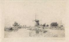 Elias Stark   Rivierlandschap met molen, Elias Stark, 1890  
