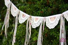 doilies and ribbon bunting Doily Garland, Doily Bunting, Bunting Banner, Bridal Shower Decorations, Wedding Decorations, Doily Wedding, Garland Wedding, Deco Champetre, Diy And Crafts