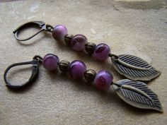 Antique Brass Purple Bead Dangle Earrings by autumnraincreations, $12.00