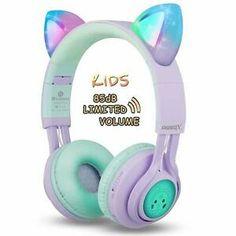 Kids Headphones, Riwbox Cat Ear Bluetooth Headphones Volume Limiting,LED Light Up Kids Wireless Headphones Over Ear with Microphone for iPhone/iPad/Kindle/Laptop/PC/TV (Purple&Green): Home Audio & Theater. Wireless Cat Headphones, Cute Headphones, Wireless Bluetooth, Sports Headphones, Over Ear Headphones, Ipad, Xmas Gifts For Kids, Kids Gifts, Metal Clock