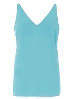 Womens **Tall Aqua Deep V Neck Cami Top- Blue