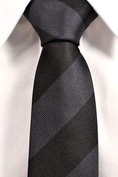 Slim necktie - Grey blue linen, thin herringbone pattern in white Notch