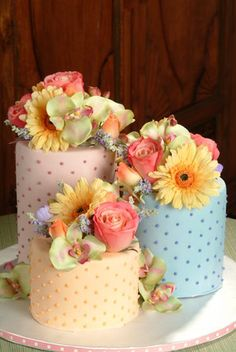 "This is different! Tag: yellow purple pink orange blue cake ""sugarbakers cakes""   photo by: SugarBakers Cakes"