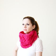 NEPAL AID  chunky cowl shocking pink  by ceriscioc on Etsy #crafters4nepal