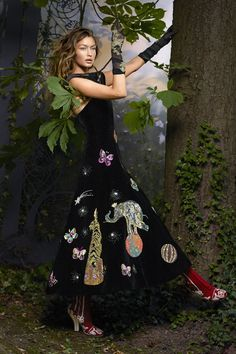 Model Gigi Hadid - Schiaparelli Haute Couture dress; Nicolas Messina gloves; Fendi Haute Fourrure boots.
