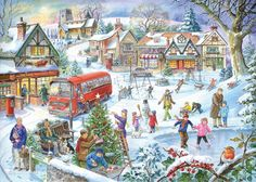 Winter Green UK Jigsaw Puzzle 1000 Piece Gift Collector The House of Puzzles for sale online Christmas Scenes, Christmas Pictures, Christmas Art, Illustration Noel, Christmas Illustration, Wooden Jigsaw Puzzles, 1000 Piece Jigsaw Puzzles, Best Jigsaw, Puzzle Art