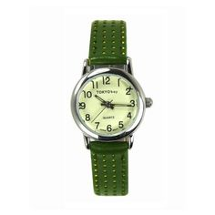 Picadilly watch by TOKYObay. Women's petite style. Green leather strap with laser cut dots with contrast color underneath. Full numbered dial , vintage inspired