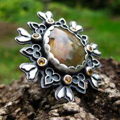 Ring   Tess Jordan. Sterling silver, rocky butte jasper and citrines.