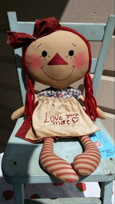 Love you more Annie Raggedy ann primitive doll by MeffyAnnies
