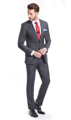 6db76cf2af7 Men s Charcoal Grey Windowpane Check Slim Fit Suit