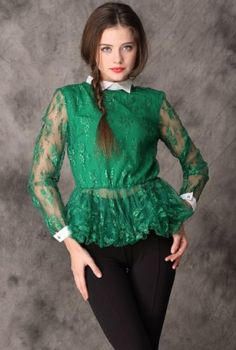 Green Sheer Long Sleeve Back Zipper Lace Blouse pictures  I love this look.