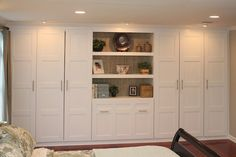 Link to blog to see the process of using IKEA PAX wardrobe closets to this master bedroom closet system. meg & the martin men: IKEA PAX Wardrobe Hack