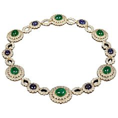 Veschetti Emerald sapphire diamond necklace | From a unique collection of vintage link necklaces at https://www.1stdibs.com/jewelry/necklaces/link-necklaces/