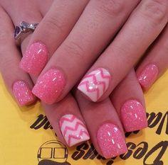 Pink Chevron nails  ~ ❤ ~