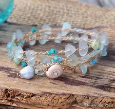 Bracelet Wrap Stacking Bracelet Aqua Glass Bracelet