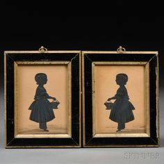 Pair of Silhouettes of a Little Girl Holding a Basket of Flowers | Sale Number 2667T, Lot Number 1032 | Skinner Auctioneers