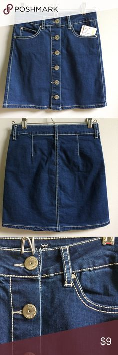 "NWT Denim Button Front A-Line Skirt New with tags. Available in juniors sizes 0, 3, 5 & 7. Retail $35.99. Price firm. Length of size 0 (shown) is 15.5."" Almost Famous Skirts A-Line or Full"