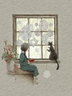 At the window. Illustration of girl and cat Art And Illustration, Animal Drawings, Cute Drawings, Art Fantaisiste, Art Mignon, Whimsical Art, Crazy Cat Lady, Cat Art, Oeuvre D'art
