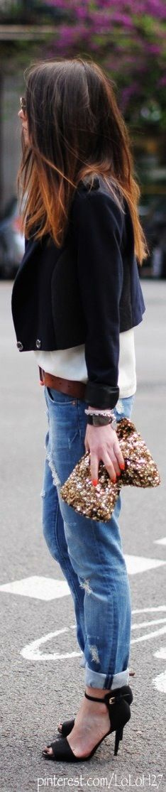 ombre, cropped coat, cropped bf jeans, pumps, sparkle bag..swah-ooonn (swoon) #mymaxxexpression