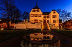 "Commune Binningen, just outside Basel, Switzerland. Its ""Schloss,"" or castle, is a restaurant nowadays. Nicely lit for Xmas in December."