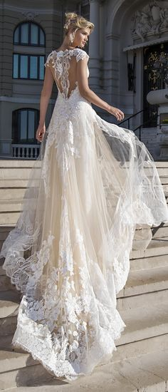 BEA from Alessandra Rinaudo 2017 bridal collection. This gorgeous cap sleeve A-line wedding dress features a statement making illusion back and a romantic lace embellished train. #AR_2017Collection #AlessandraRinaudo #bridal #wedding #ad #weddingdress #lace #romantic