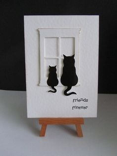 Feline Friends -- by CraftyDi2010, via Flickr Love the sweet kitty silhouettes!