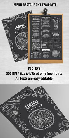Creative and modern food menu template for your restaurant business.This template can be used for vintage menu, printable menu, wedding menu, restaurant menu, food menu inspiration. Food Menu Template, Printable Menu, Restaurant Menu Template, Restaurant Menu Design, Restaurant Branding, Menu Templates, Pizzeria Design, Restaurant Ideas, Chalkboard Restaurant