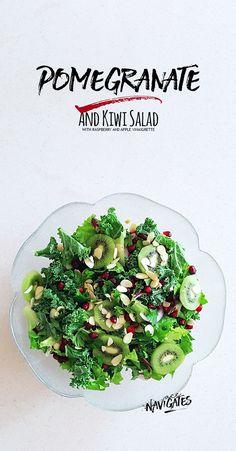 Pomegranate Kiwi Salad with Raspberry Apple Vinaigrette | Recipe