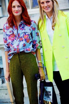 Taylor Tomasi Hill in floral print shirt and green flares <3