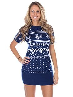 dc6130ae6e5 Women s Ugly Christmas Sweater - Conga Line Reindeer Sweater Dress Navy  Blue Size S Tipsy Elves