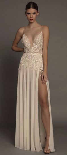 Robe De Soiree Courte 2017 Long Evening Dresses V-Neck Evening gown with Slit Sexy Party Dress Vestido de Fiesta Largos Elegant Dresses, Pretty Dresses, Formal Dresses, Wedding Dresses, Formal Prom, Split Prom Dresses, Dress Prom, Dress Long, Pink Dress