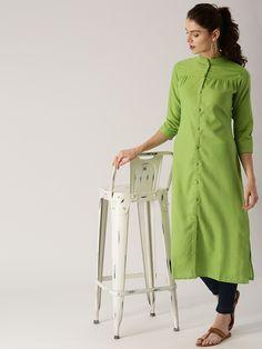 Olive Green Straight Kurti Back