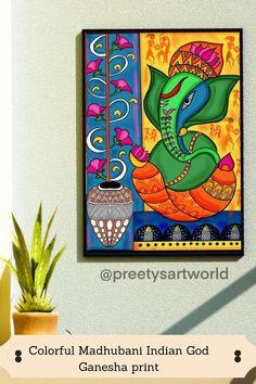 Worli Painting, Ganesha Painting, Ganesha Art, Indian Art Paintings, Canvas Paintings, Canvas Art, Madhubani Art, Madhubani Painting, Mandala Design