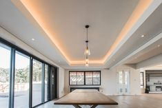 Light trough detail in ceilings of open plan living area - soft lighting effect Home, Roofing, Residential, Open Plan, Soft Lighting, Living Area, Ceiling, Open Plan Living, Trough