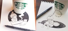 STARBUCKS CUPS BECOME ARTISTIC CANVASES