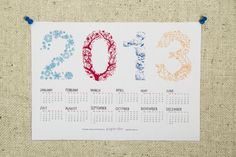 Printable calendar 2013 with colourful typographic illustration by papierdier, $5,00