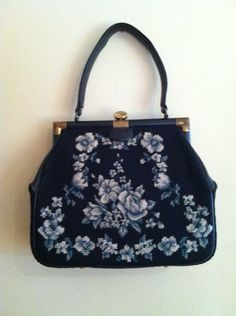 Vintage 50s Petit Point Blue Floral Embroidered Purse