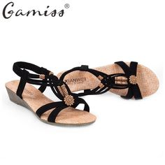 Gamiss Summer Vintage Women Sandals Gladiator Wedge Woman Shoes Beach Flip  Flops Bohemian Platform Lace Up 82f7a1b96c17