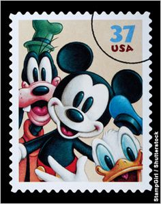 U.S. postage stamp featuring cartoon characters (StampGirl/Shutterstock)