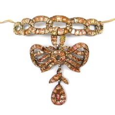 18th century orange topaz pendant collar necklace of entwined scroll ribbon design, Portuguese c.1760