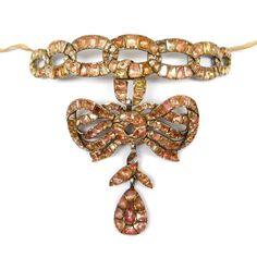 18th century orange topaz pendant collar necklace of entwined scroll ribbon design, Portuguese c.1760