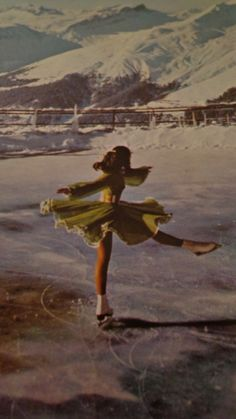 Vintage Peggy Fleming on Beautifully Exotic Outdoor Skating Rink and Sumptuous Costume