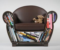 Overstuffed bookshelf chair.